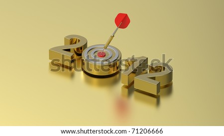 Dart hitting target - New Year 2012 isolated on gold background. Computer generated 3D photo rendering. - stock photo