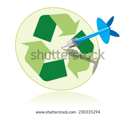 dart hitting target with recycle sign - stock photo