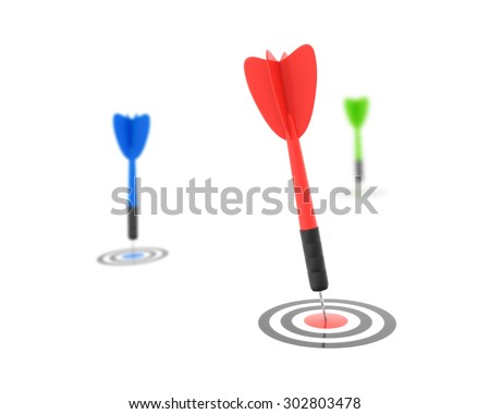 Dart Hitting the Target , This is a computer generated and 3d rendered picture. - stock photo