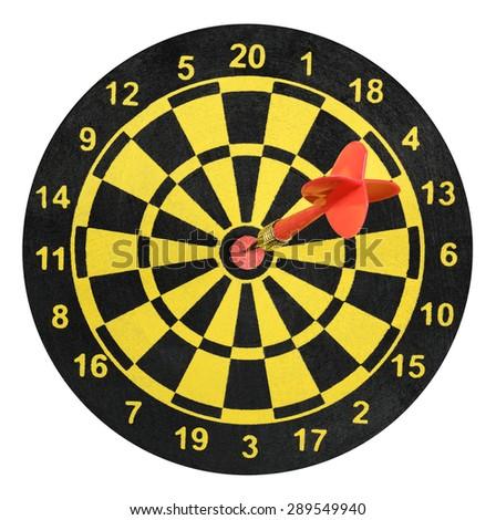 Dart in dartboard hit success - stock photo