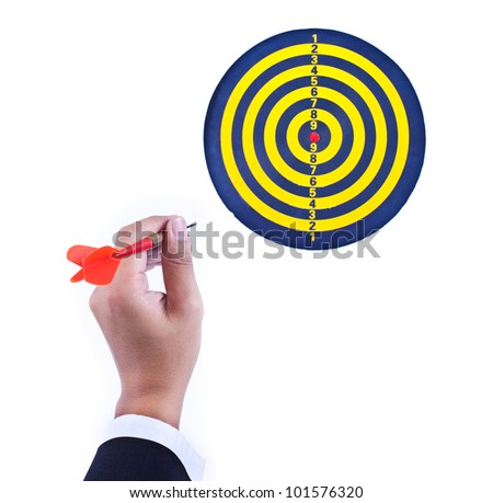 dart in hand and dartboard isolated on white background