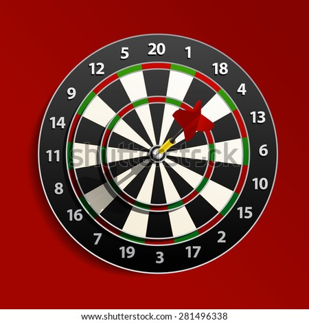 Dart is in the aim. Raster version - stock photo