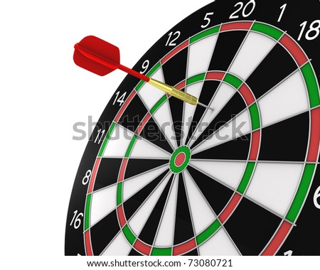 Dart missed the center, isolated on white background - stock photo