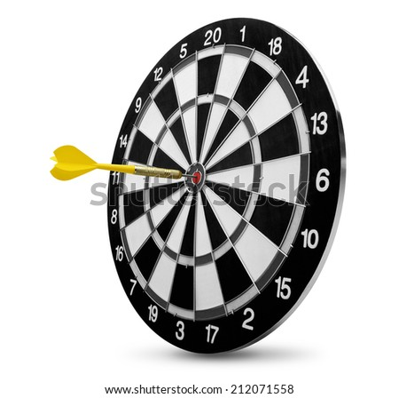 dart on target isolated on white - stock photo