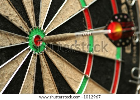 Dart smack in the middle of a bullseye