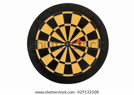 dart target hitting in bullseye on no number of dartboard isolated on white background include clipping path, abstract backgroud for success business education marketing and goals - stock photo