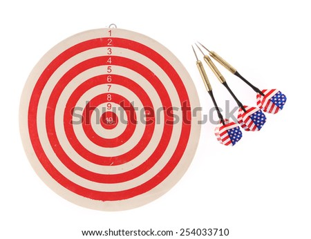 Dart target isolated on white background - stock photo