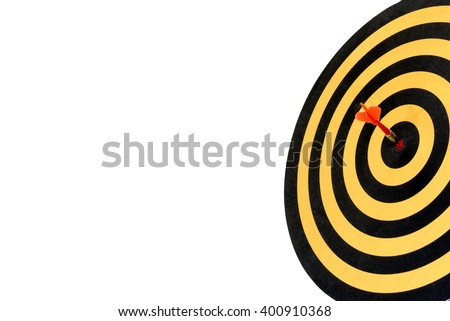 dart target with arrow hitting in bullseye on dartboard with copy space isolated on white background, Goals target success business investment financial strategy concept, Abstract background - stock photo