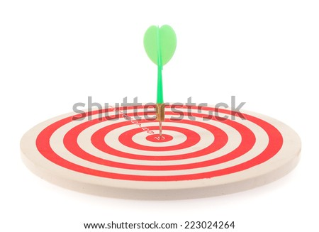 Dart target with arrows isolated on white background - stock photo