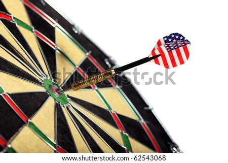 Dart with the American flag hitting a target board, concept for success and marketing.