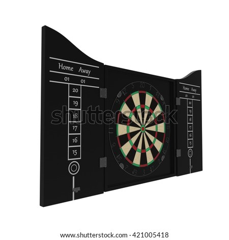 Dartboard isolated on white. 3D illustration - stock photo