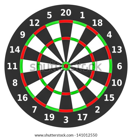 Dartboard on white.