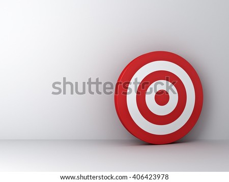 Dartboard or target on white wall background with shadow. 3D rendering. - stock photo