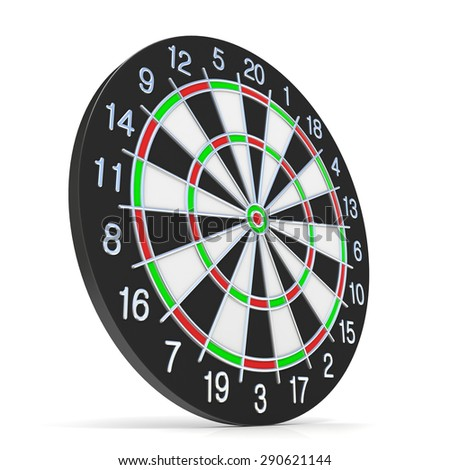 Dartboard. Side view. 3D render illustration isolated on white background - stock photo