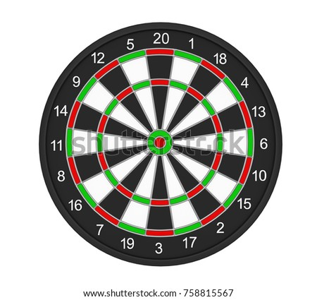 Dartboard Target Isolated. 3D rendering