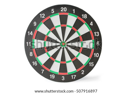 Dartboard with red arrow, isolated on white background, clipping path