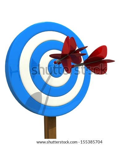Darts arrows flying in center of target