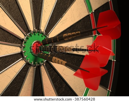Darts arrows in the target center, darts in bull's eye close up. Success hitting concept 3d illustration - stock photo