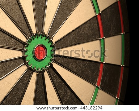 Darts board empty goal target competition realistic, no dart arrow hitting center. 3d rendering illustration - stock photo