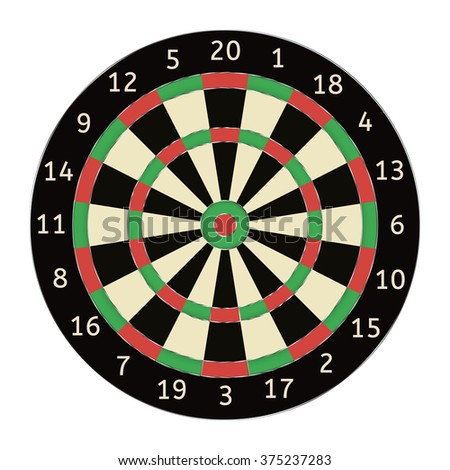 Darts board. Raster version. Illustration isolated on white background.