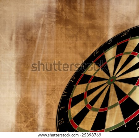 darts board shown in perspective on a grunge background