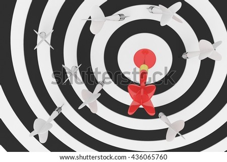 Darts board with red center and arrow on white background. 3D rendering. - stock photo