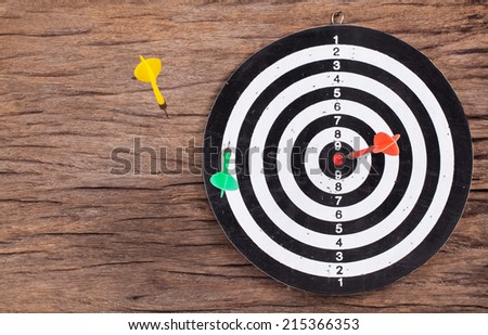 Darts Board with wooden background