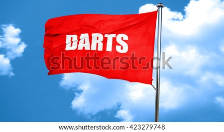 darts, 3D rendering, a red waving flag - stock photo