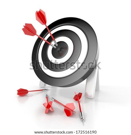 Darts hitting a target. 3d concept - stock photo