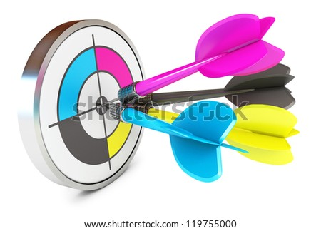 Darts hitting directly in bulls eye. CMYK. Conceptual illustration. Isolated on white background. 3d render - stock photo