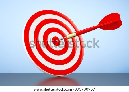 Darts Hitting The Target on a blue background