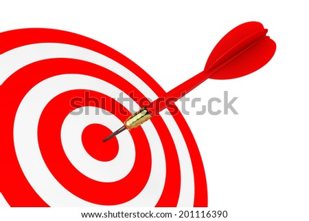 Darts Hitting The Target on a white background