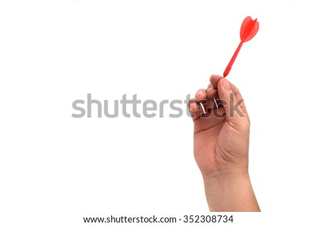 Darts in hand  isolated on white