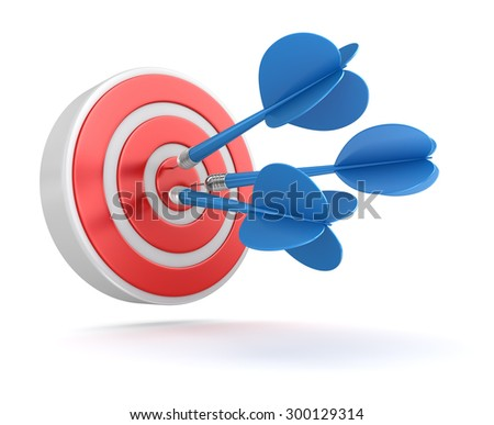 Darts on Target , This is a computer generated and 3d rendered picture. - stock photo