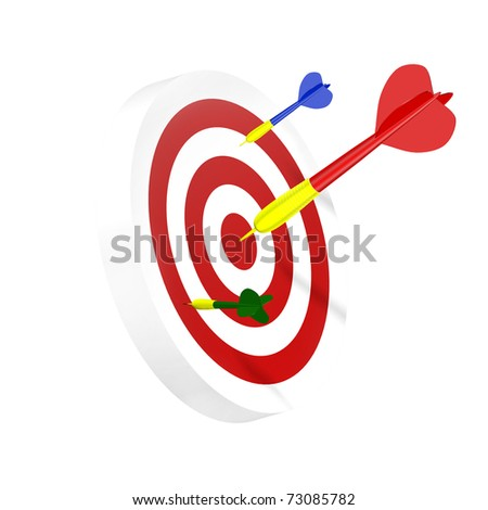 Darts symbol of right solution (isolated on white background)