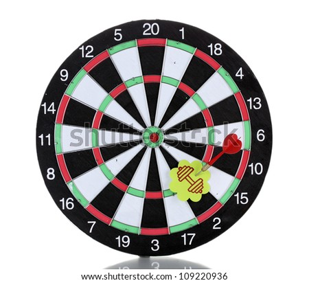 Darts with stickers depicting the life values isolated on white. The darts hit the target.