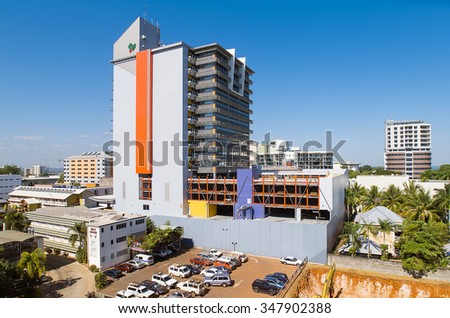 Darwin, Northern Territory-July 12, 2005. Elevated view of the skyline of Darwin, capital city of the Northern Territory, top end of Australia - stock photo