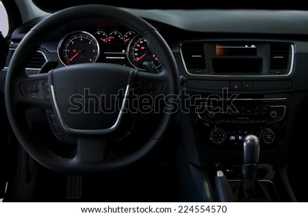 Car Dashboard Close Image Illuminated Car Stock Photo - Car image sign of dashboardcar dashboard sign multifunction display stock photo royalty