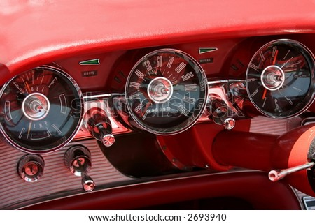 dashboard from the inside of a classic car