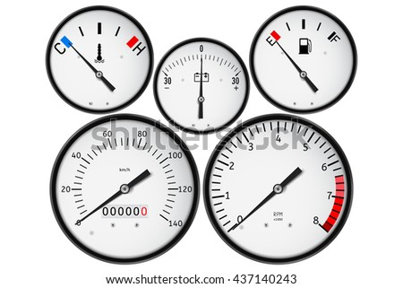 Dashboard - fuel gauge, tachometer, speedometer, odometer, accumulator charge. Realistic illustration isolated on white background. Raster version