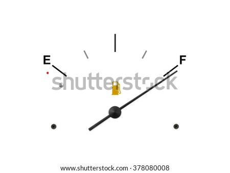 Dashboard Gas Gauge on Full - stock photo