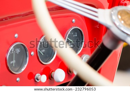 Dashboard of a vintage fire engine