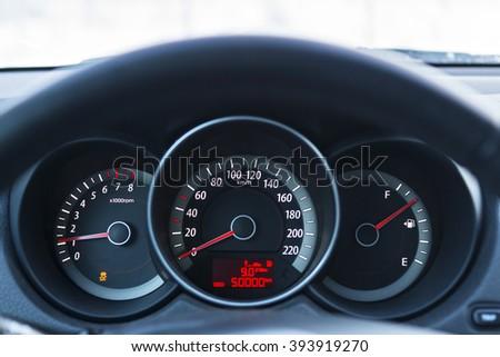 Dashboard of car - stock photo