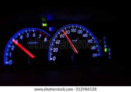 Dashboard speedometer driver during the night is not over 80 miles
