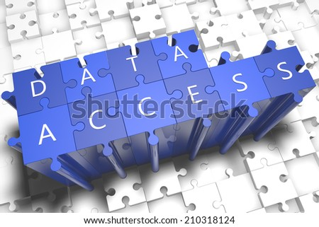 Data Access - puzzle 3d render illustration with block letters on blue jigsaw pieces  - stock photo