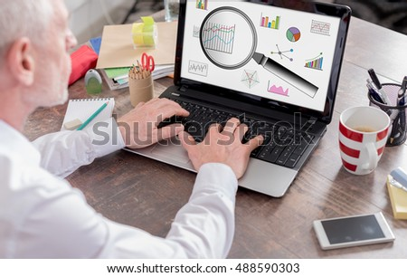 Data analysis concept shown on a laptop screen