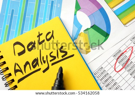 Data analysis written in a note and financial charts.