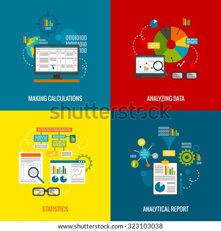 Data analytics design concept with making calculations statistics and analytical report flat icons set isolated  illustration - stock photo