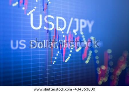 Data analyzing in foreign finance market: the charts and quotes on display. Analytics in pairs USD / JPY - stock photo