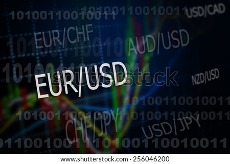 Data analyzing in foreign market: the charts and quotes on display. - stock photo